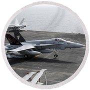 An Fa-18a+ Hornet Lands Aboard Round Beach Towel