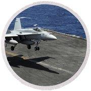 An Fa-18c Hornet Lands Aboard Round Beach Towel