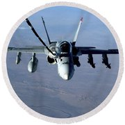 An Fa-18c Hornet Receives Fuel Round Beach Towel by Stocktrek Images