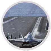 An Fa-18d Hornet Launches Round Beach Towel