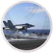 An Fa-18e Super Hornet Catapults Round Beach Towel