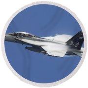 An Fa-18f Super Hornet In Flight Round Beach Towel