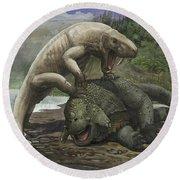 An Inostrancevia Attacks A Scutosaurus Round Beach Towel