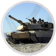 An M1a1 Main Battle Tank Round Beach Towel