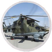 An Mi-24 Hind Helicopter Round Beach Towel