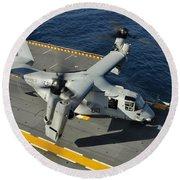 An Mv-22 Osprey Lands Aboard Uss Round Beach Towel