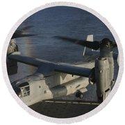 An Mv-22 Osprey Prepares To Land Aboard Round Beach Towel