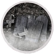 An Old Cemetery With Grave Stones And Fog Round Beach Towel