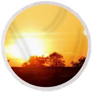 Photograph Of The White Hot Sun On An Orange Horizon With Lens Flare Round Beach Towel