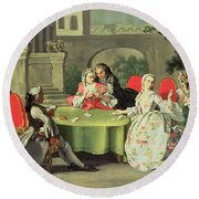 An Ornamental Garden With Elegant Figures Seated Around A Card Table Round Beach Towel