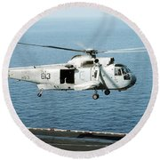 An Sh-3h Sea King Helicopter Prepares Round Beach Towel