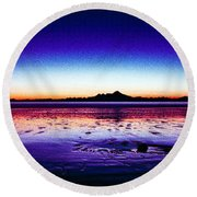 Anchor Point Beach Twilight Round Beach Towel