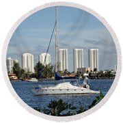 Anchored On Maule Lake Round Beach Towel