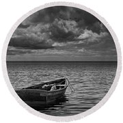 Anchored Row Boat Looking Out To Sea Round Beach Towel