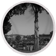 Ancient Cedars And Tombstones Round Beach Towel