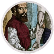 Andreas Vesalius, Flemish Anatomist Round Beach Towel