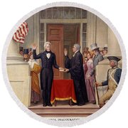 Andrew Jackson At The First Capitol Inauguration - C 1829 Round Beach Towel