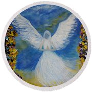 Angel Among Us Round Beach Towel