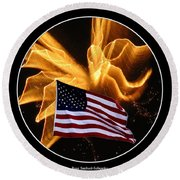 Angel Fireworks And American Flag Round Beach Towel by Rose Santuci-Sofranko