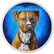 American Staffordshire Terrier Dog Painting Round Beach Towel
