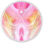 Angel Of Divine Love Round Beach Towel