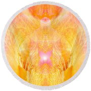 Angel Of Divine Protection Round Beach Towel