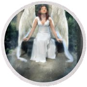 Angel On Stone Bench Looking Up Into The Light Round Beach Towel