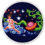 Angel Spinning Saturn Round Beach Towel by Genevieve Esson