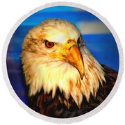 Angel The Bald Eagle Round Beach Towel