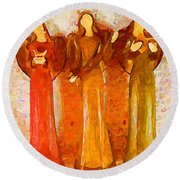 Angels Rejoicing Together Round Beach Towel