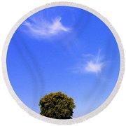 Angels Watching Over Tree Round Beach Towel