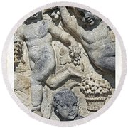 Angels With Grapes Round Beach Towel by Joana Kruse
