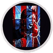 Anger In Red And Blue Round Beach Towel