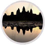 Angkor Wat At Sunrise Round Beach Towel
