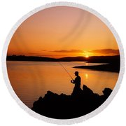 Angler At Sunset, Roaring Water Bay, Co Round Beach Towel