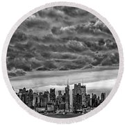 Angry Skies Over Nyc Round Beach Towel