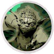 Angry Yoda Round Beach Towel