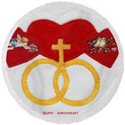 Anniversary Hearts Round Beach Towel
