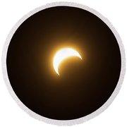 Annular Eclipse Beginning 1 Round Beach Towel
