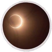 Annular Eclipse Past Peak Round Beach Towel