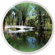 Another White Bridge In Magnolia Gardens Charleston Sc II Round Beach Towel