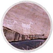 Antelope House Petroglyphs Round Beach Towel