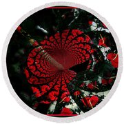 Antherium Abstract Round Beach Towel