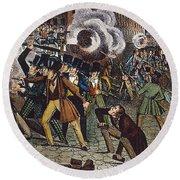 Anti-catholic Mob, 1844 Round Beach Towel