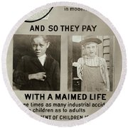 Anti-child Labor Poster Round Beach Towel