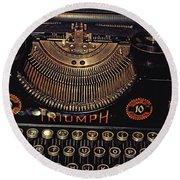 Antiquated Typewriter Round Beach Towel