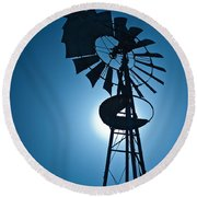 Antique Aermotor Windmill Round Beach Towel