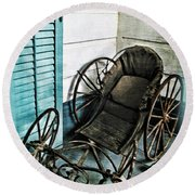Antique Baby Carriage Round Beach Towel