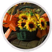 Antique Buggy And Sunflowers Round Beach Towel