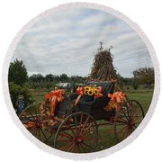 Antique Buggy In Fall Colors Round Beach Towel